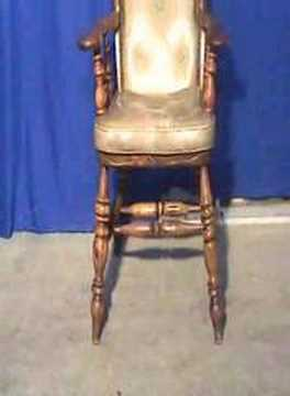 Pine Captain's Chair with leather seat Turned Wood - YouTube