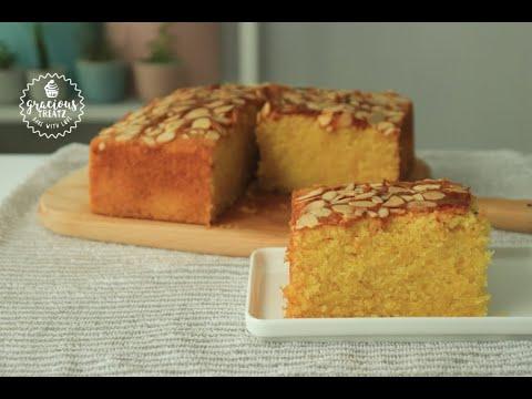Orange Almond Semolina Cake Recipe | Suji Cake Recipe