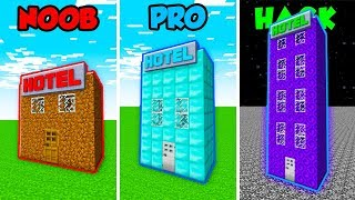 Minecraft NOOB vs. PRO. vs. HACKER: HOTEL BASE in Minecraft! (Animation)