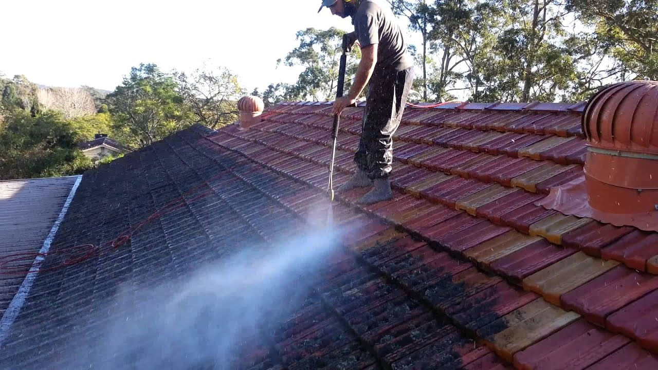 painting terracotta roof tiles step 1 cleaning - able roof restoration