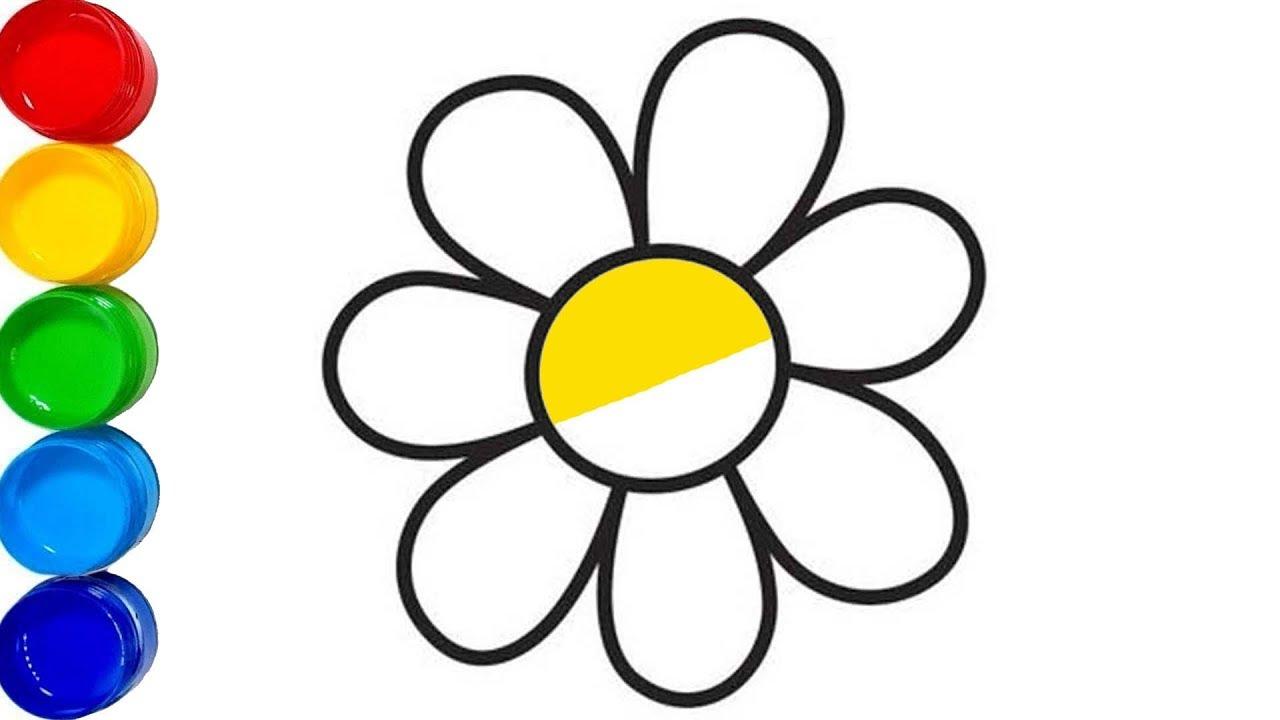 Renkli çiçek Boyama Boyama Sayfaları Renkleri öğreniyorum Youtube