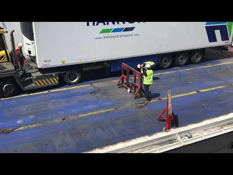 Loading cargo on ferry in Ireland