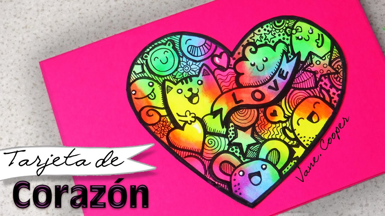Haz Un Corazon Super Colorido Tarjeta De Amor Doodle Neon Vane Cooper