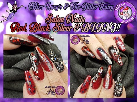 1 of 2 - Acrylic Salon Nails - Tips - Geometric Design - Ombre - Embedded Glitter