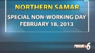PNoy, idineklara ang February 18 bilang 'special non-working holiday' sa Northern Samar