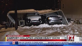 Family shaken after carport collapses under heavy snow