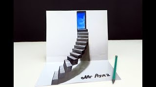 Drawing Stairs to the Door   How to Draw 3D Steps