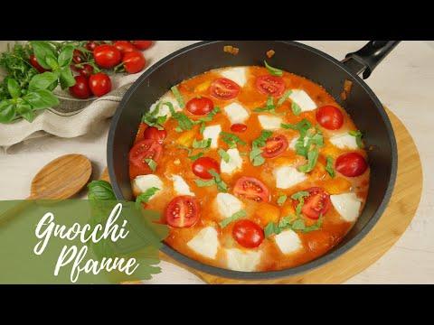 Gnocchi Pfanne mit Mozzarella | Schnelles Pfannengericht