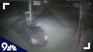 RAW: Man crashes minivan into gas station, bank