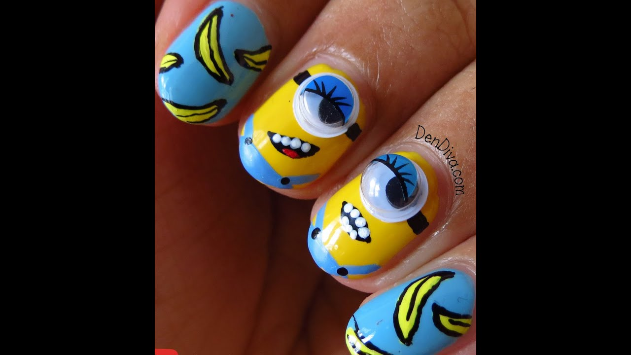 TUTORIAL - Cute Minion Nail Art (Despicable Me) || DenDiva - YouTube