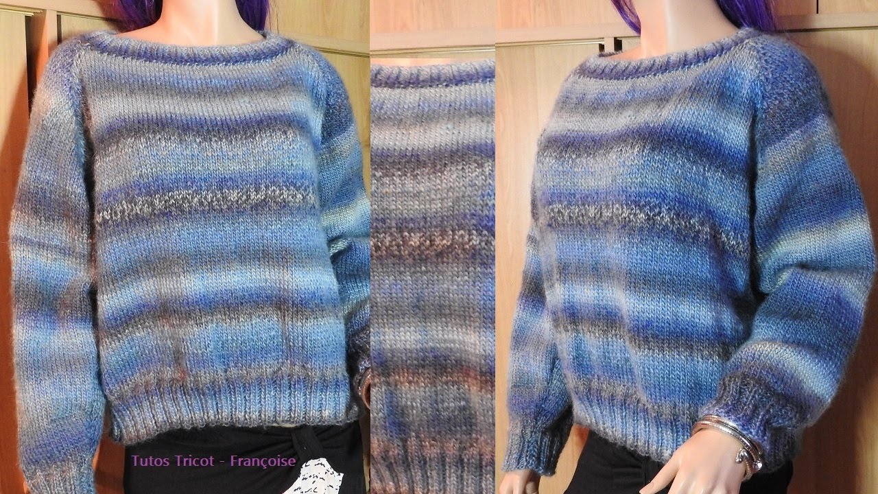 Tuto Tricot pull Femme manches Raglan facile 38/40 - 42/44 - 46/48 côtes 2/2 & jersey - YouTube