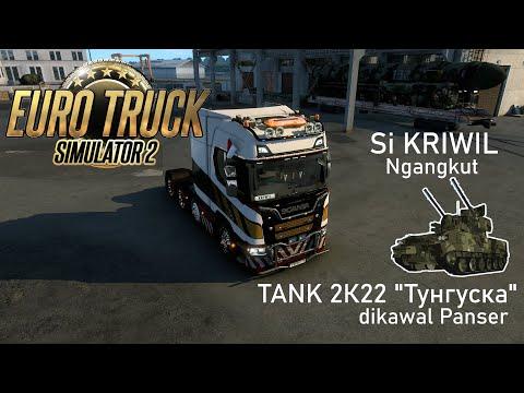 Euro Truck Simulator 2 - Kriwil Ngangkut Tank 2K22 Тунгуска di Rusia | Mod Military Oversized Cargo |