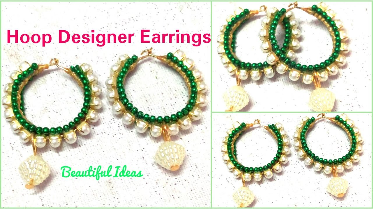 How to make Silk thread Designer Earrings//Hoop Designer Earrings ...
