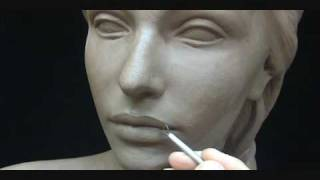 Sculpting a female head in clay. Sculpting tutorial and demo. thumbnail