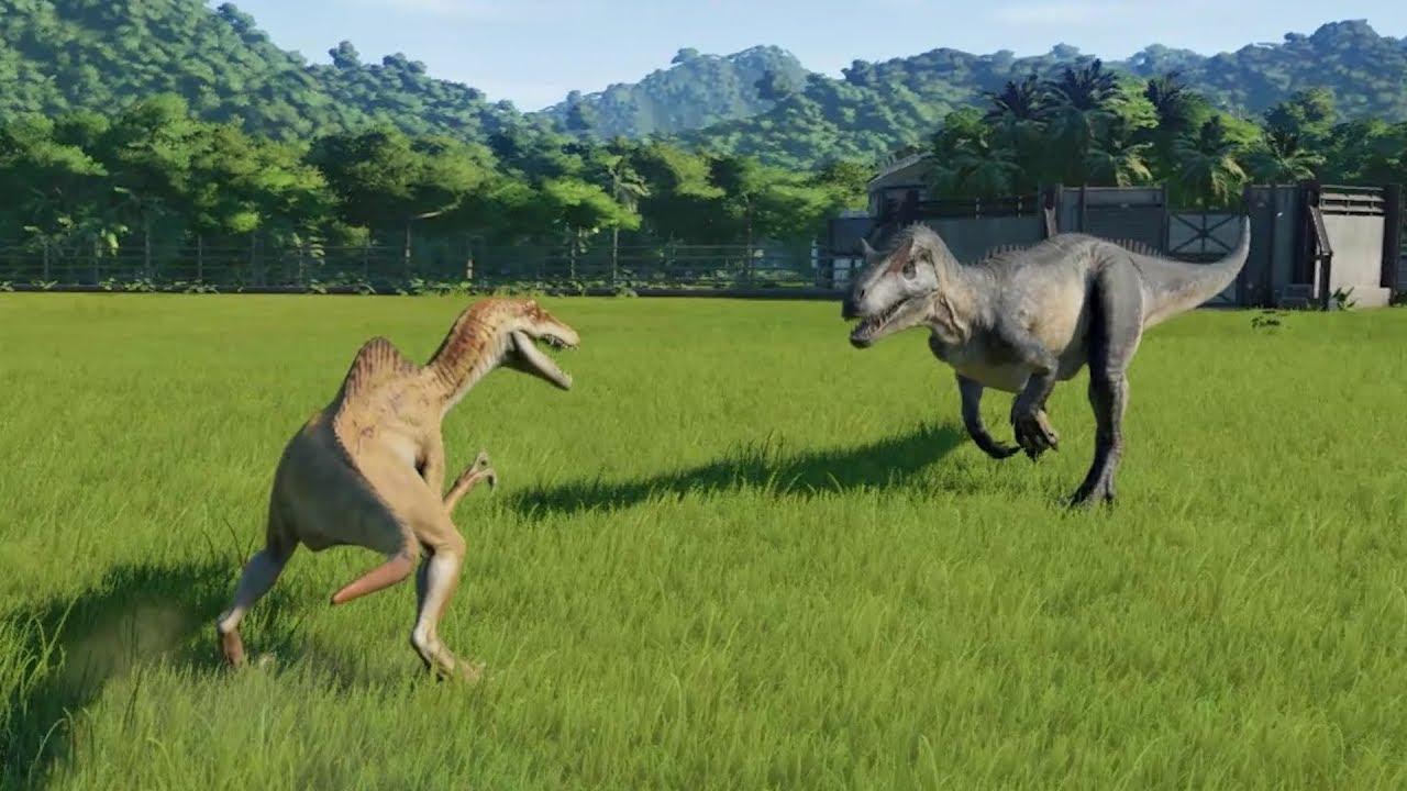Spinoraptor VS Allosaurus 1 6 2 - Jurassic World Evolution