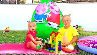 Alice and Eva open Giant toy egg with toys surprises