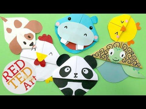 5 Kawaii Bookmark Corners - DIY Kawaii Animals - DIY Panda, Puppy Dog, Chicken, Chick, Hippo, Turtle