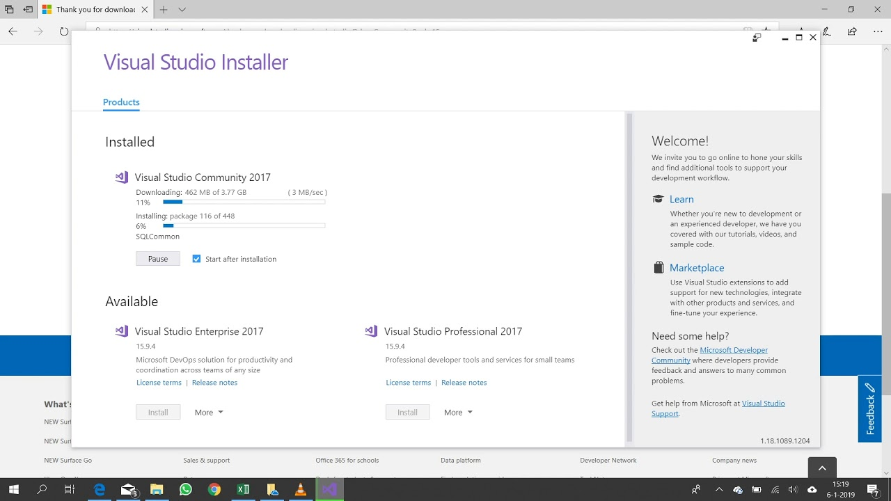 Install Visual Studio Community 2017