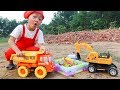 Funny children's kindergarten car toys Excavator, Dump Truck Construction Toy & Police Cars