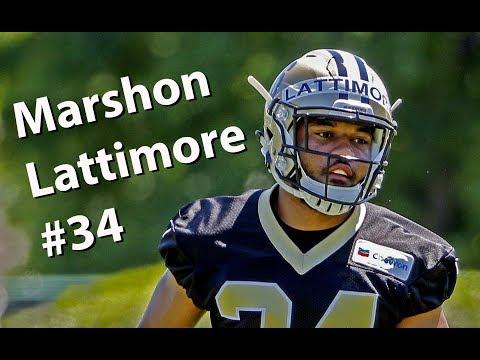 New Orleans Saints' Marshon Lattimore in practice