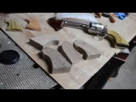 making wood grips for a 1875 Remington clone - YouTube