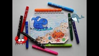 Как нарисовать кита и краба поэтапно просто и быстро / How to draw a Crab and Whale step by step (5)