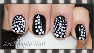 Черно-белый маникюр для коротких ногтей. Дотс | Black & White Dots Nails