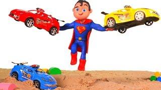 SUPERMAN SAVES THE CARS ❤ SUPERHERO PLAY DOH CARTOONS FOR KIDS
