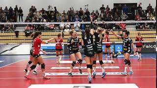 Jubel der Volleyball Damen des DSC Dresden gegen die Rotenraben aus Vilsbiburg
