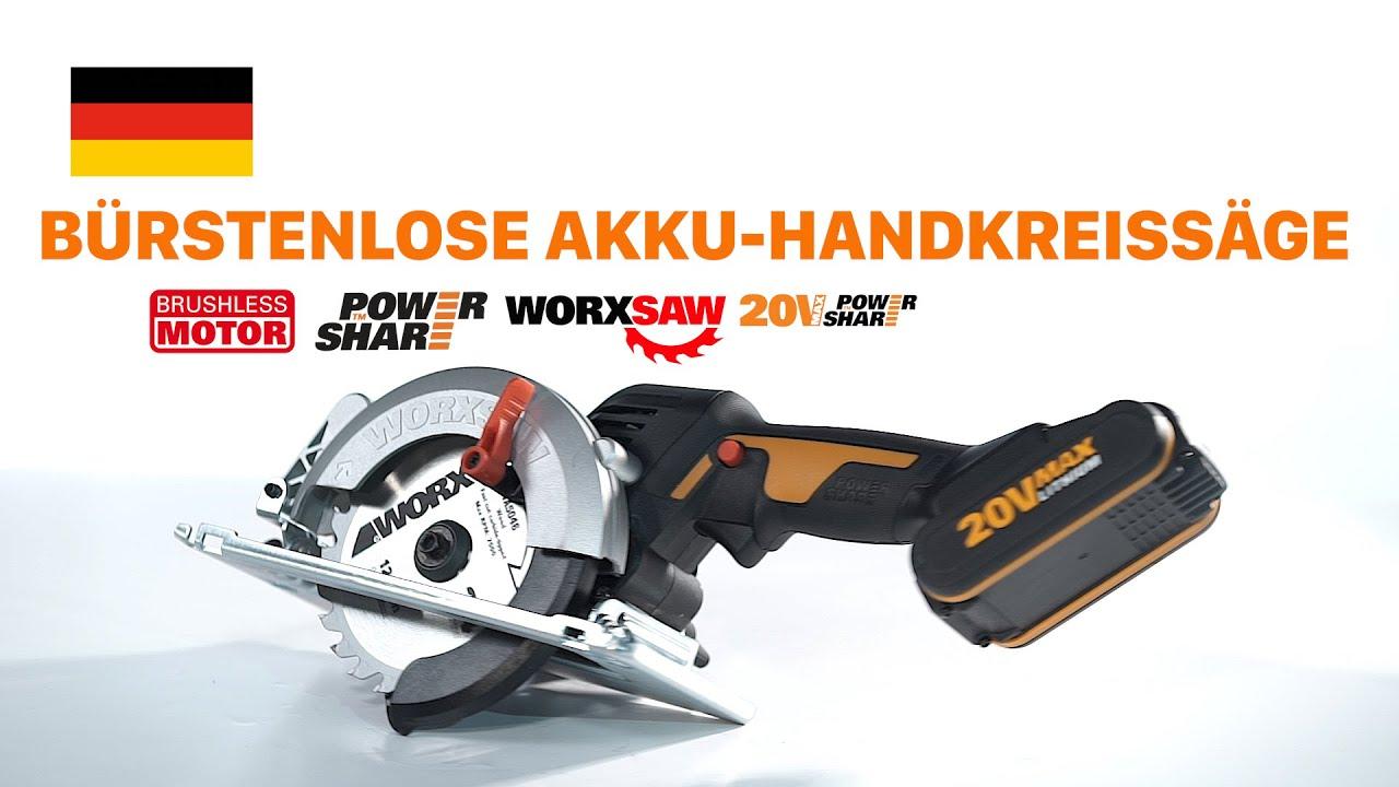 WORX WX531 Akku Hand-Kreissäge 20V Max bürstenloser Motor 3 Sägeblätter