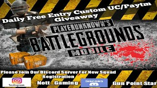 Pubg Mobile live Giveaway Daily Free Entry Custom 19 Aug2020 [Gun Point Star Live Now]