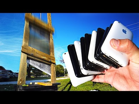 Thumbnail: How Many iPhones Can a 12 FT Guillotine Slice Through?