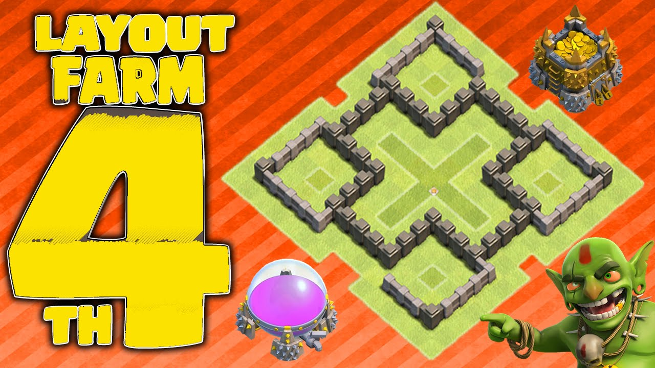 clash of clans melhor layout de farm cv4 replays 2015 town hall 4 farming youtube - Layout Cv 4 Clash Of Clans