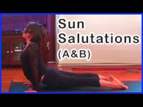 beginner's yoga sun salutations part a  b  surya