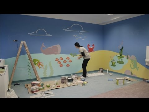 Wall ART - WALL PAINTING - Water ROOM - Therapeutic kindergarten in WARSAW, Poland
