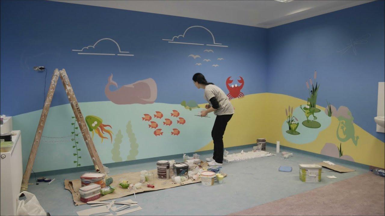 Wall Decoration Of Kindergarten : Wall art painting water room therapeutic