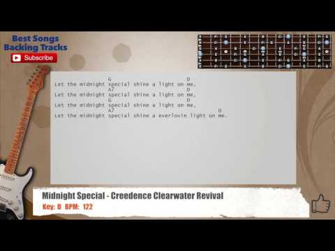 The Midnight Special - Creedence Clearwater Revival Guitar Backing Track with chords and lyrics