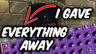 Level 100 Player Gives Away Whole Inventory ! Fortnite Save The World