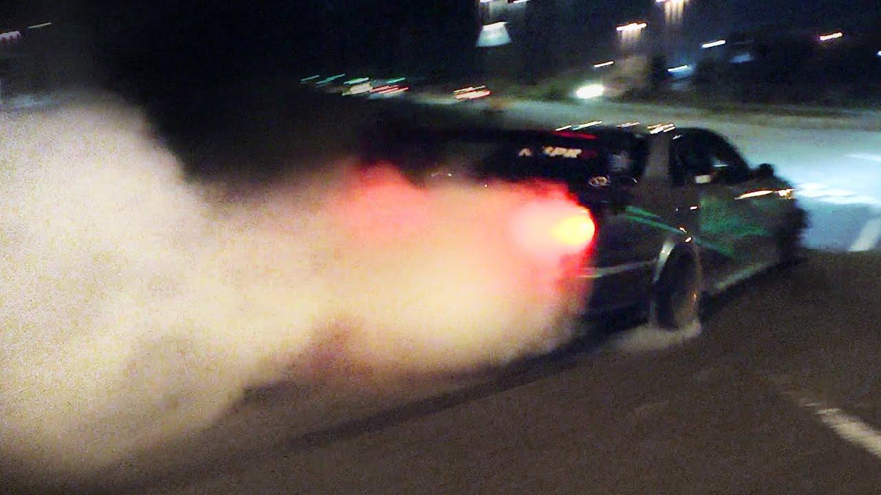 Nissan Skyline R34 Huge Drift And Burnout Flames