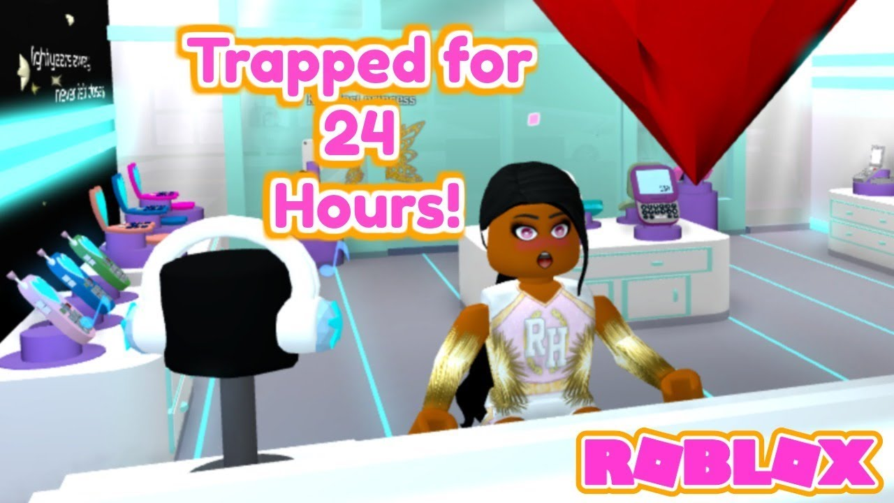 I Spent 24 Hours In Someones House Roblox Bloxburg Youtube - She Spent 24 Hours In The Royale High Cell Phone Store Roblox