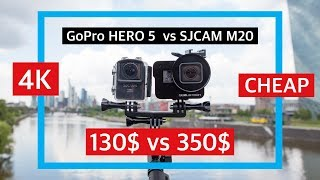 GoPro Hero 5 Black vs SJCAM M20 | 4K action camera | cheap and easy (english review)