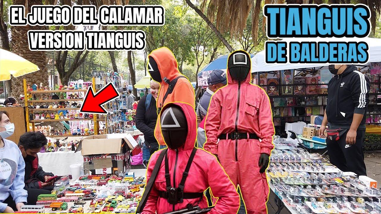 JUGAMOS EL JUEGO del CALAMAR EN EL TIANGUIS DE BALDERAS  REGALAMOS Y COMPRAMOS DE TODO