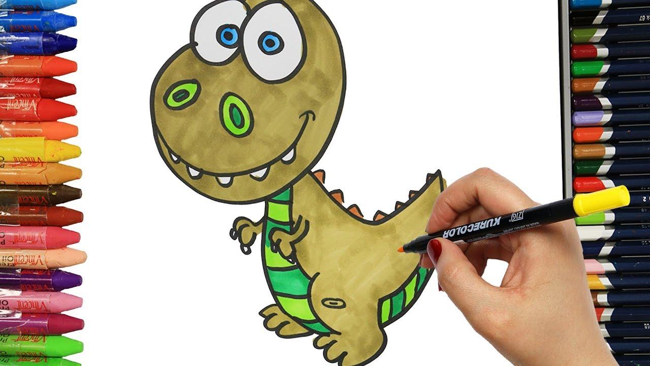 Sevimli Dinozor Nasil Cizilir Cocuklar Icin Eglenceli Boyama