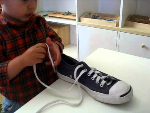 Montessori Homeschool:  Shoe Lacing
