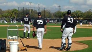New York Yankees pitchers practice drills on the mound - Spring Training 2011