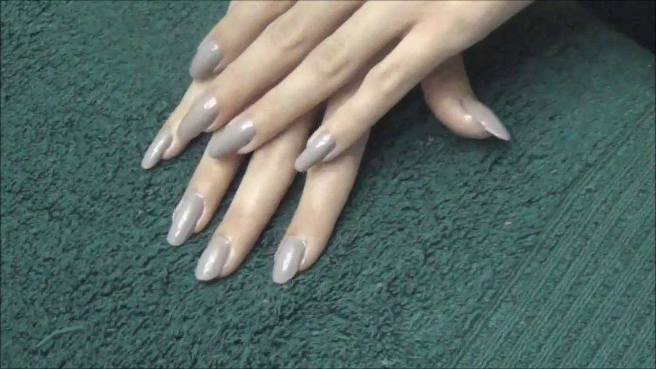ASMR: Clear and Grey Nail Polish on Long, Bare, Natural Nails - YouTube