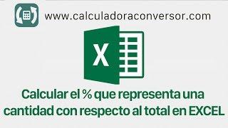 Calcular El Porcentaje Que Representa Una Cantidad Respecto Al Total En Excel Youtube
