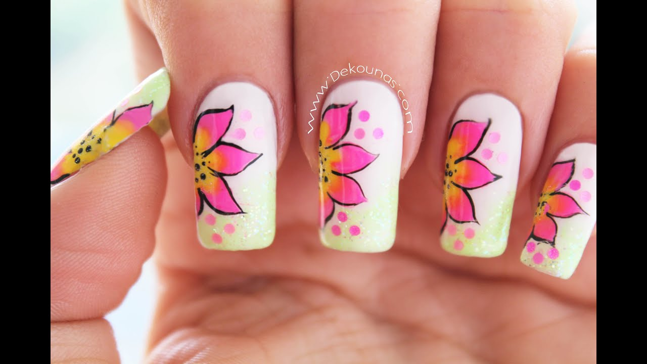 Decoración de uñas flores faciles - Easy flower nail art - YouTube