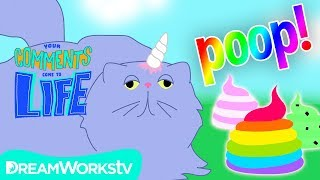 Unicat POOPS Ice Cream!! | YOUR COMMENTS COME TO LIFE