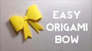 Cute Paper Bow - Origami Bow Tutorial - Easy Steps for Beginners (DIY)
